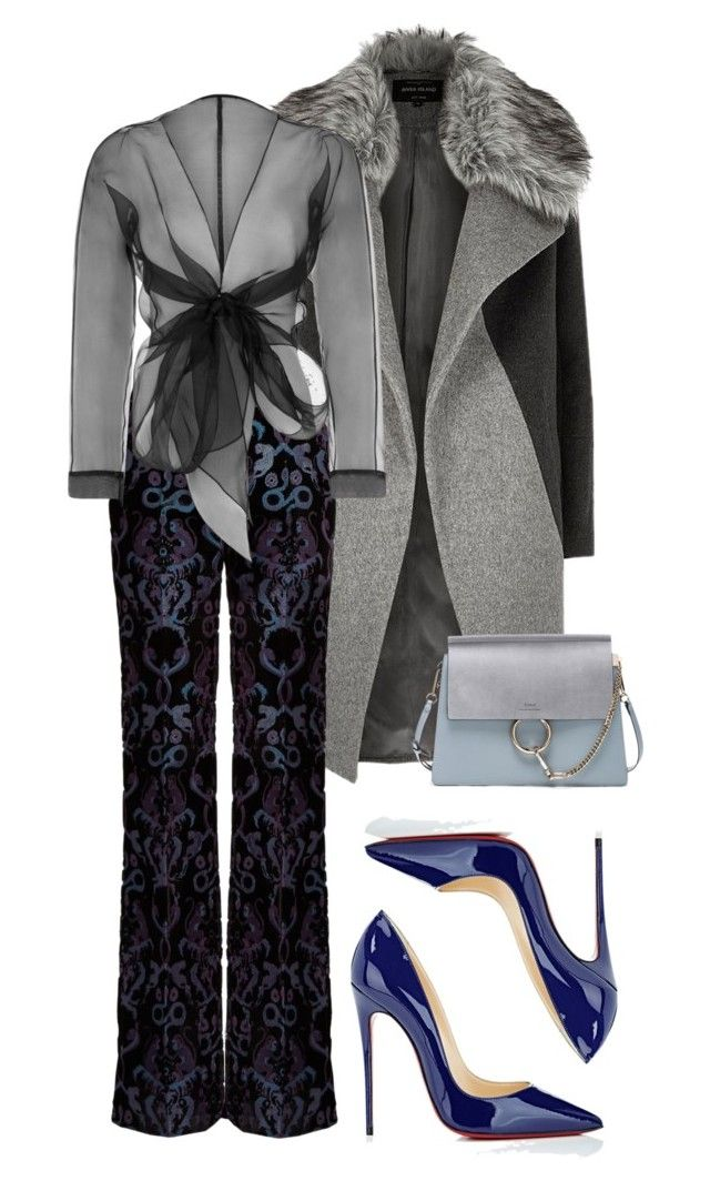 """""""Greys and blues"""" by trend-anonymous on Polyvore featuring River Island, Roberto Cavalli, Christian Louboutin, Bianca Elgar, Chloé, fashionset, polyvoreeditorial and Fall2016"""