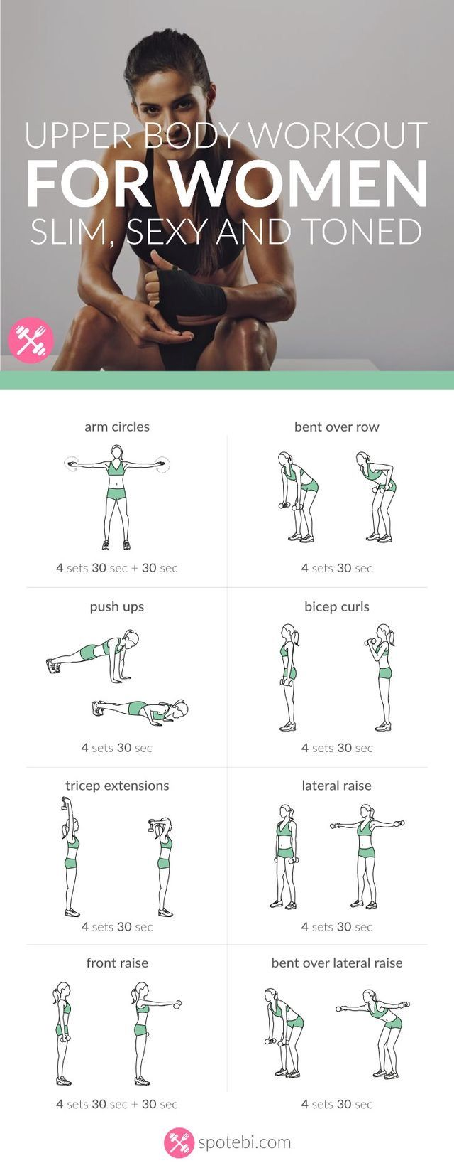 """Upper body workout for slim toned arms via spotebi.com""- Fitness 
