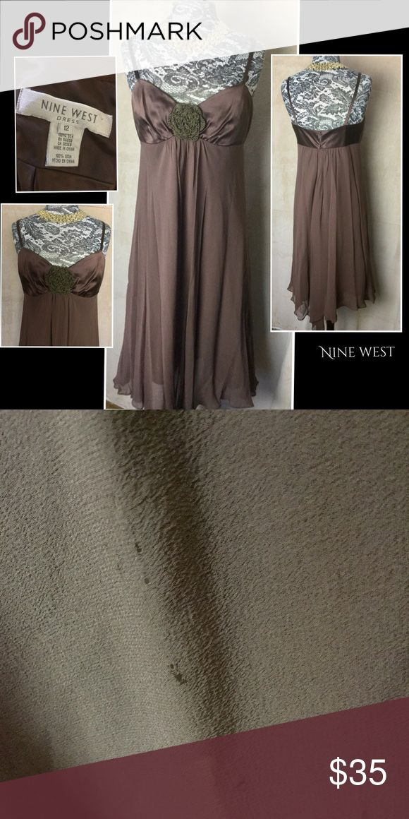 Nine West lovely silk Shift dress Sz 12 Nine West brown silk Shift dress, size 12; adjustable straps, zip closure, good, but has a few tiny holes in the skirt (pic#2). Nine West Dresses