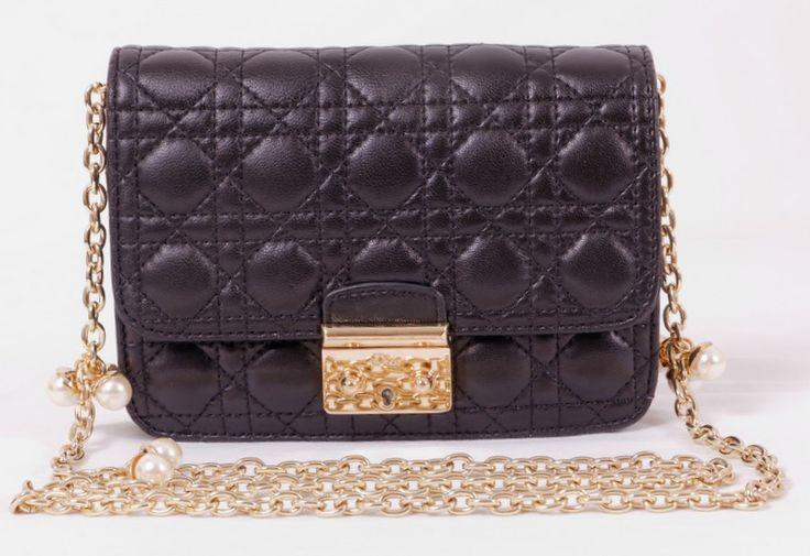 Сумка Mini Miss Dior черная из натуральной кожи ягненка
