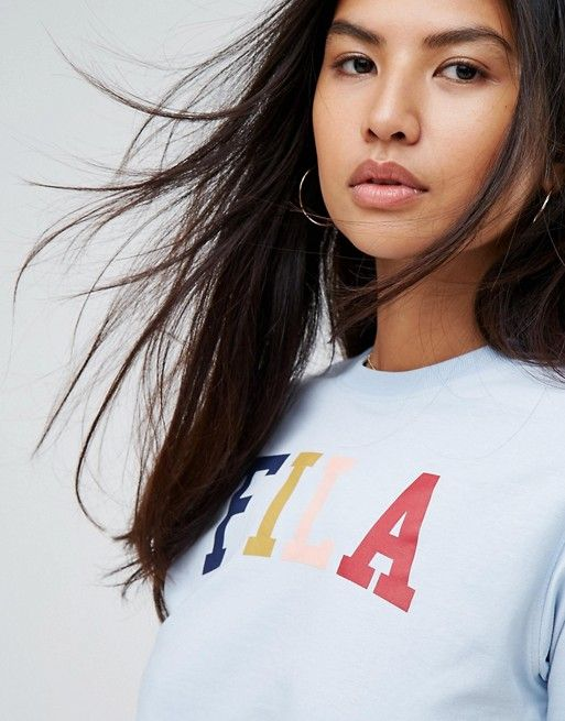 Fila Oversized Boyfriend T-Shirt With Multi Colour Logo