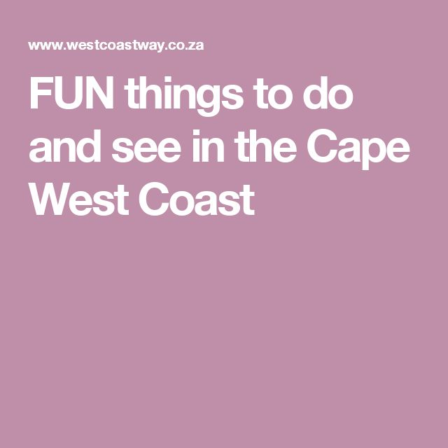 FUN things to do and see in the Cape West Coast