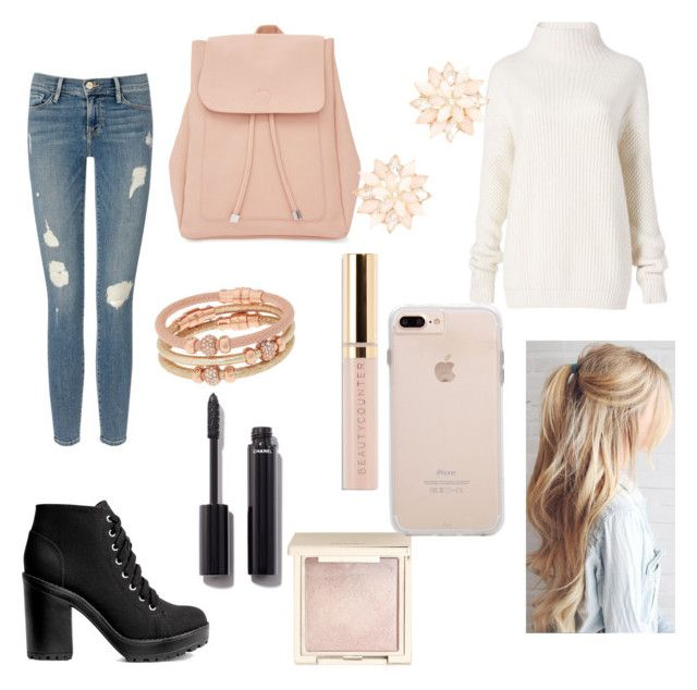 """Pink paradise"" by labea02 on Polyvore featuring moda, Frame Denim, New Look, H&M, Diane Von Furstenberg, Henri Bendel, Beautycounter, Chanel, Jouer e Charlotte Russe"