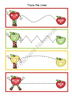 Preschool Printables, maybe have this be cut the lines for the 4 year olds and trace the line for the 3 year olds
