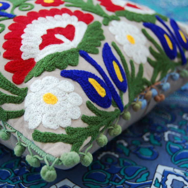 Decorative Embroidered Ethnic Throw Pillow case Indian Vintage Suzani Cushion kh #Handmade #AntiqueStyle