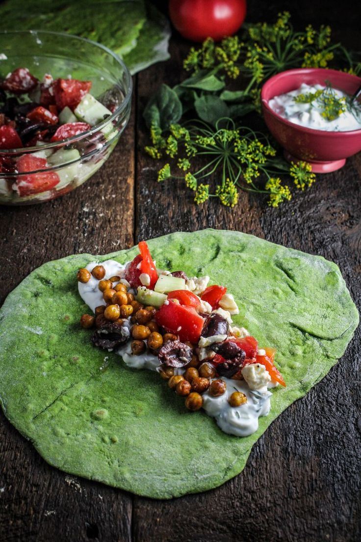 Homemade Spinach Wraps with Chopped Greek Salad {Katie at the Kitchen Door}