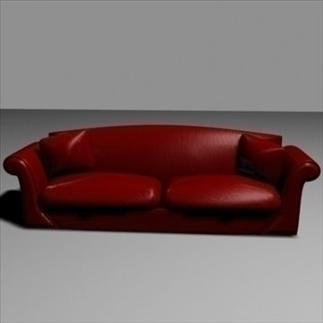 Dark Red Leather Sofa 3D Model-   A realistic leather sofa, no diffuse maps used so colour can be changed. - #3D_model #Chair,#Other Furniture