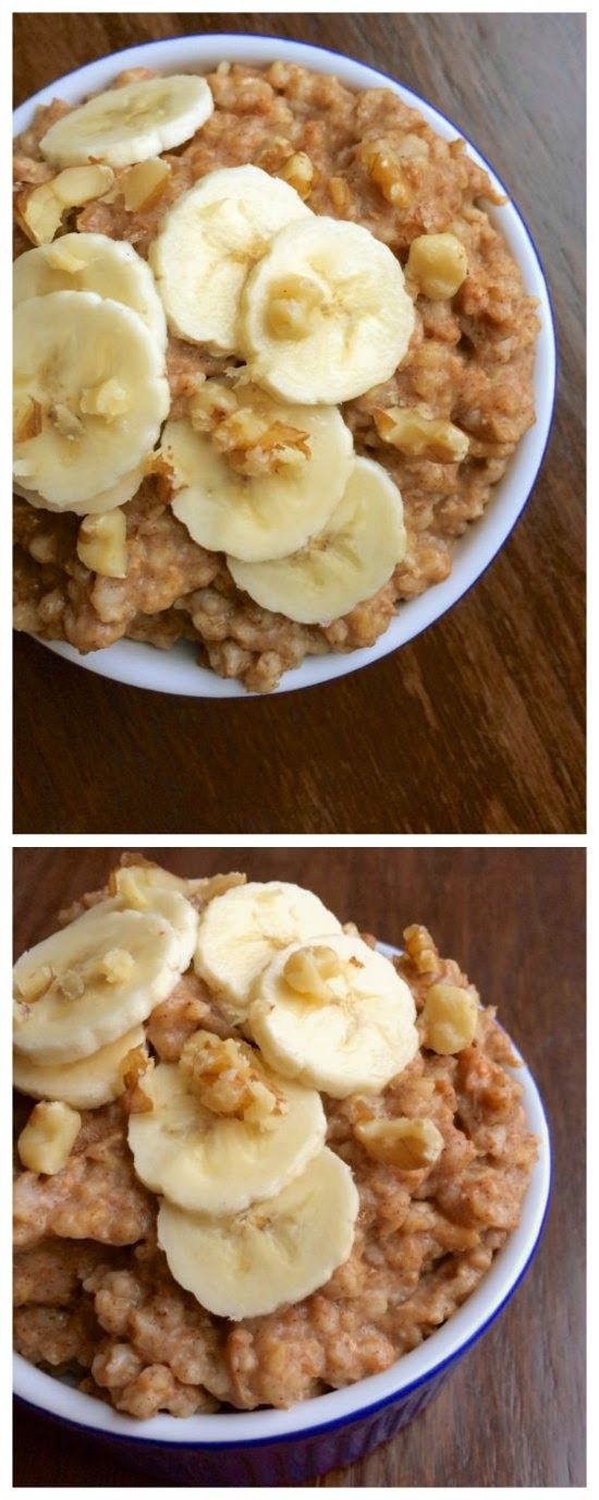 Overnight Slow Cooker Banana Nut Oatmeal from The Lemon Bowl; with the delicious and easy overnight slow cooker recipe you won't have any excuse not to eat a good breakfast! [Featured on SlowCookerFromScratch]