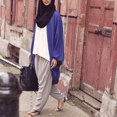 Blue Cocoon Cardigan + White Crepe Top + Grey Crossover Trouser + Black Maxi Jersey Hijab | INAYAH www.inayahcollection.com