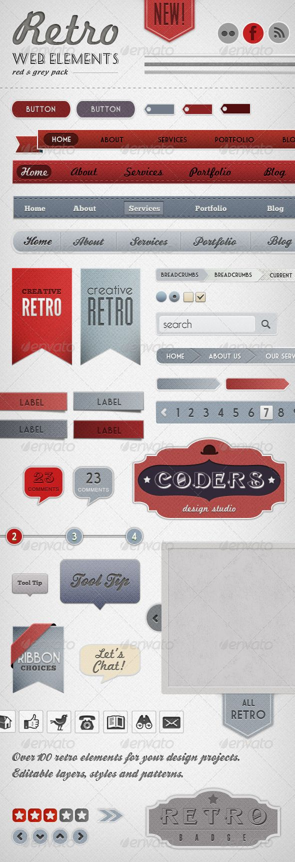 LOVE. will have to buy.  Retro Web Elements - Red & Grey Pack - GraphicRiver Item for Sale