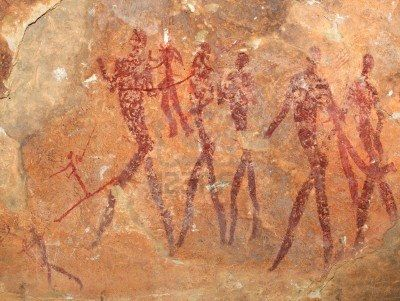 Bosquimanos (san) pinturas rupestres que representan figuras humanas, Sudáfrica Foto de archivo - 13885573
