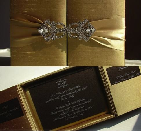 Inviation card. Love the gold fabric and black paper.