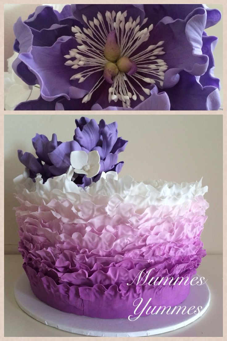 Maggie Austin Purple ombré ruffle adorned with a peony and hydrangeas <3