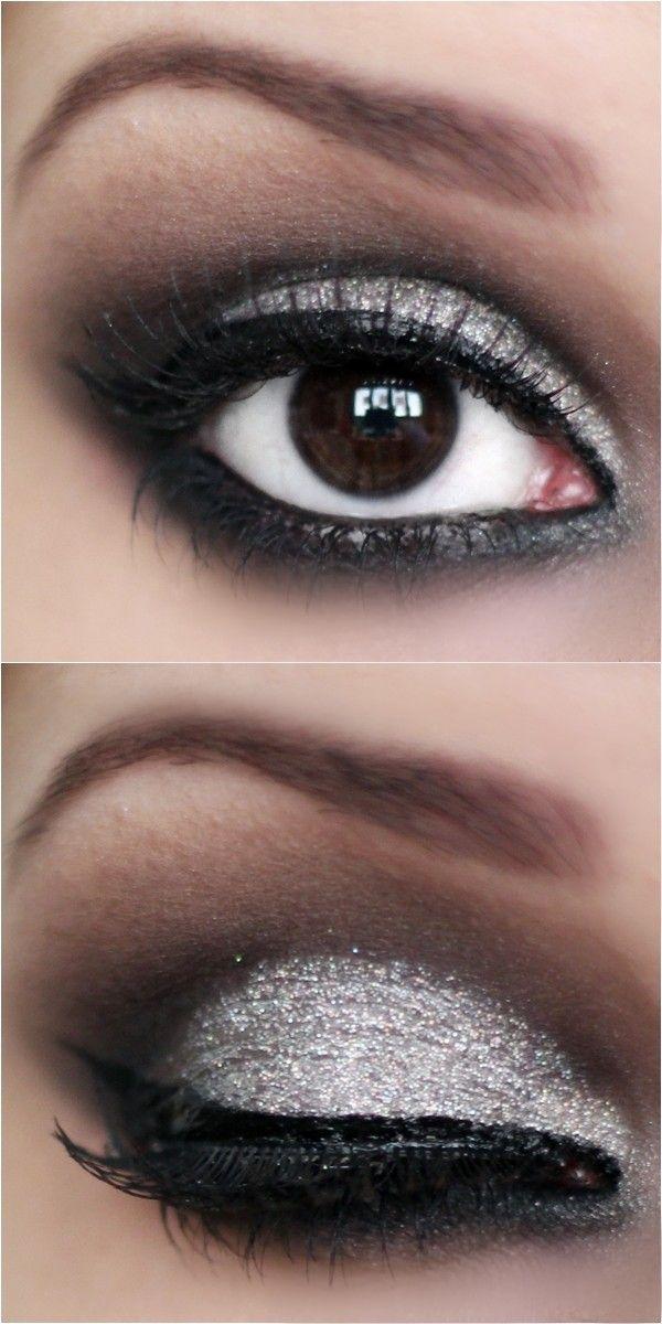 Passo a passo maquiagem preta e prata com glitter 3D - tudo make 11