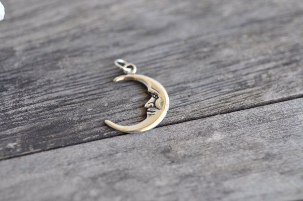 Man in the Moon Charm Sterling Silver Crescent Moons Made in USA by Pearlwearbeads on Etsy