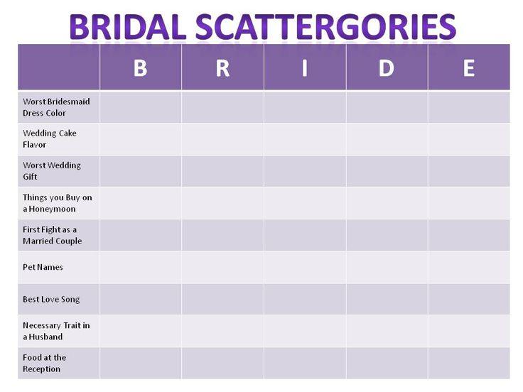 Bridal Scattergories