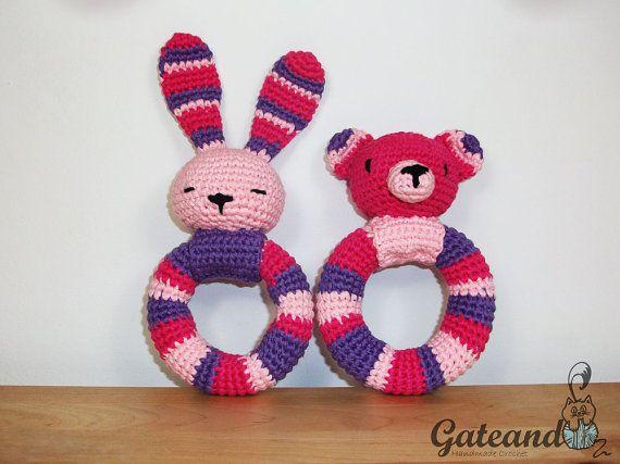 Crochet rattles. amigurumi. bunny. teddy bear
