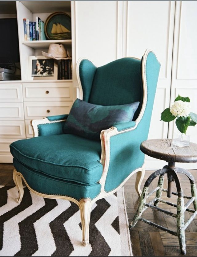 living rooms - turquoise blue french wingback chair turquoise blue pillow  white espresso brown chevron rustic stool table built-ins cabinets shelves  living ...