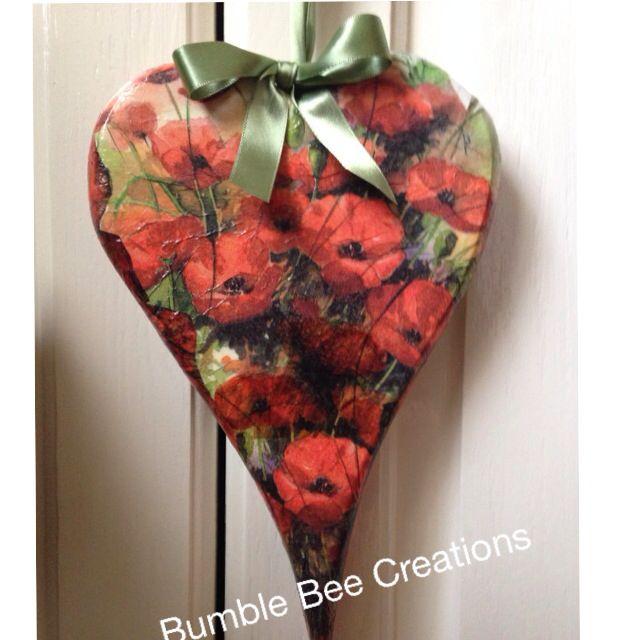 Beautiful poppy decoupaged heart
