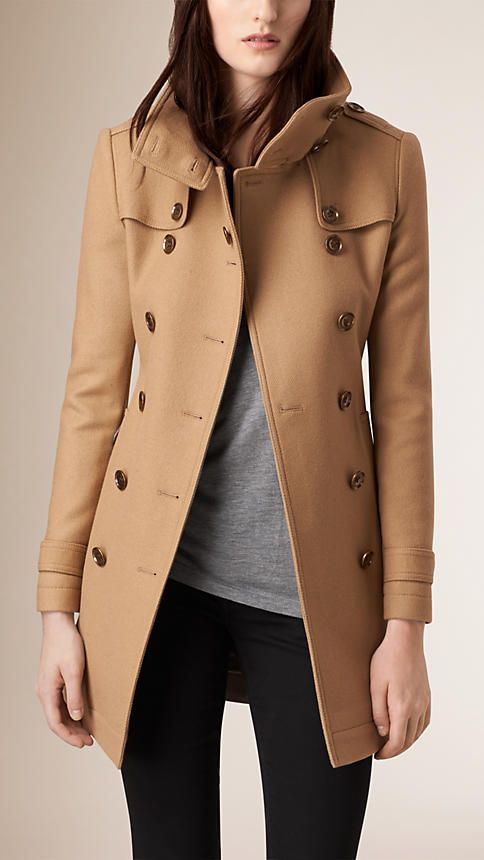 Camel Short Double Wool Twill Trench Coat
