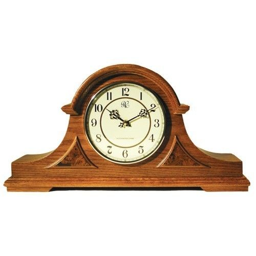 River City 31040 English Tambour Clock With Oak Finish And Four Different Chimes:  Oak finished clock case  Four different chiming options  Includes volume control, night shut off switch, and silent mode  Requires two C batteries to operate