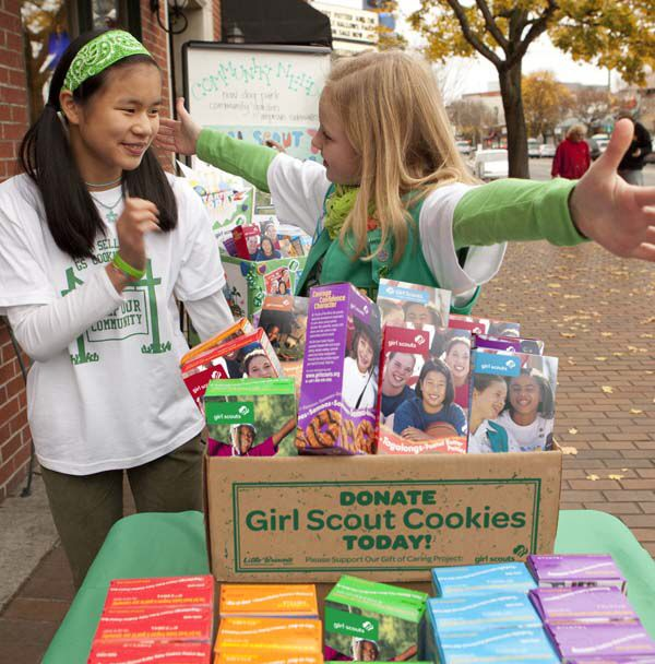cookie donation box ideas girl scouts pinterest gs