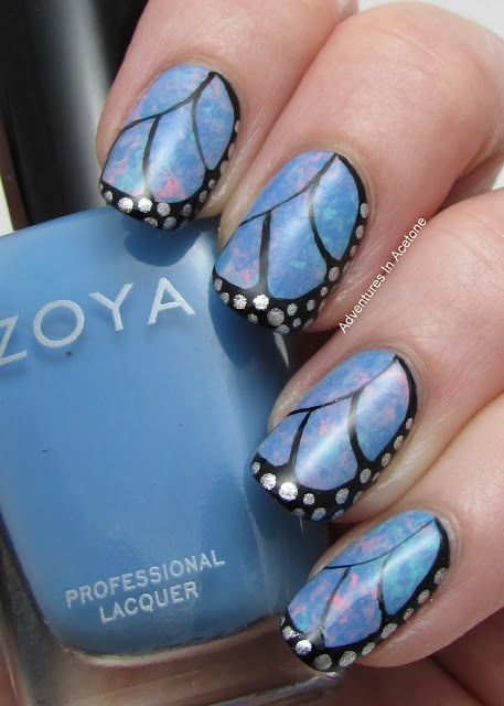 Adventures In Acetone: Mommy's NOTD: Butterfly Wing Saran Wrap Nail Art!