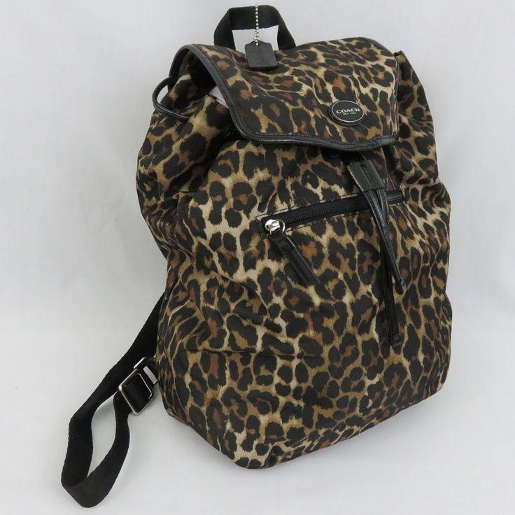 Coach Getaway Ocelot Leopard Animal Print Backpack Purse Drawstring F33311 NWOT #Coach #Backpack