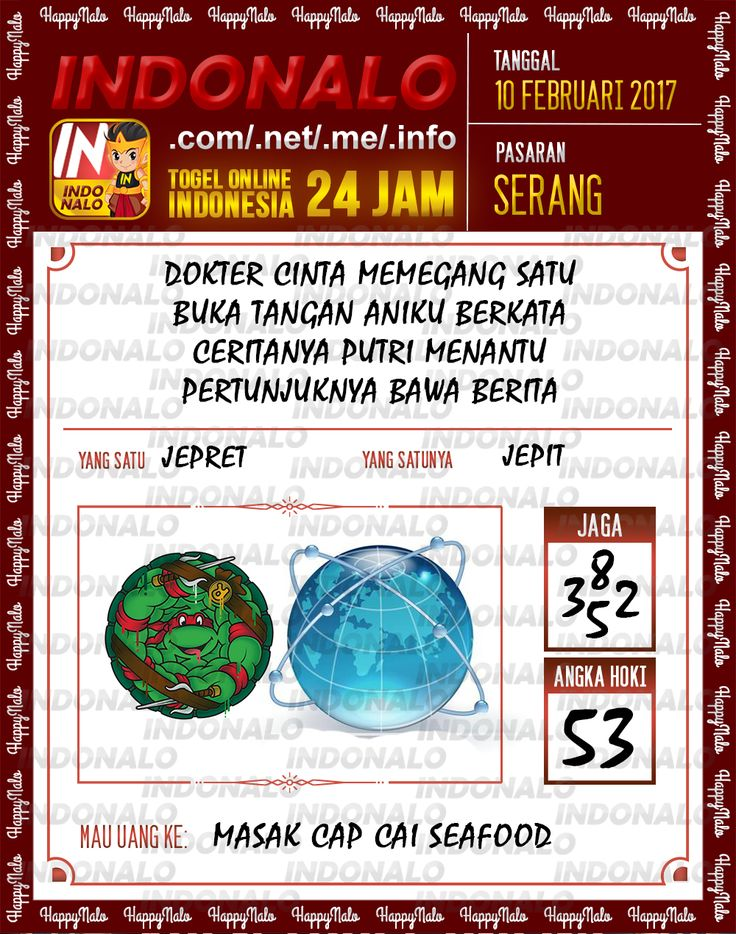 Angka Taysen 6D Togel Wap Online Live Draw 4D Indonalo Serang 10 Februari 2017