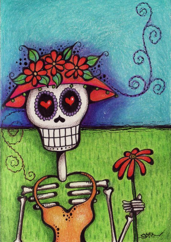 36 best day of the dead kitchen images on pinterest sugar skulls items similar to day of the dead dia de los muertos signed greeting card blank inside on etsy m4hsunfo