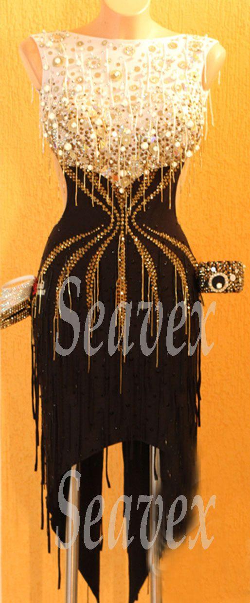 Competition Latin Cha Cha Ramba Dance Dress US 8 UK 10 White Beads Black Color | eBay