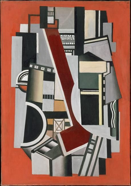 """artist-leger: """" Mechanical Elements on red background by Fernand Léger Size: 65x92 in"""""""