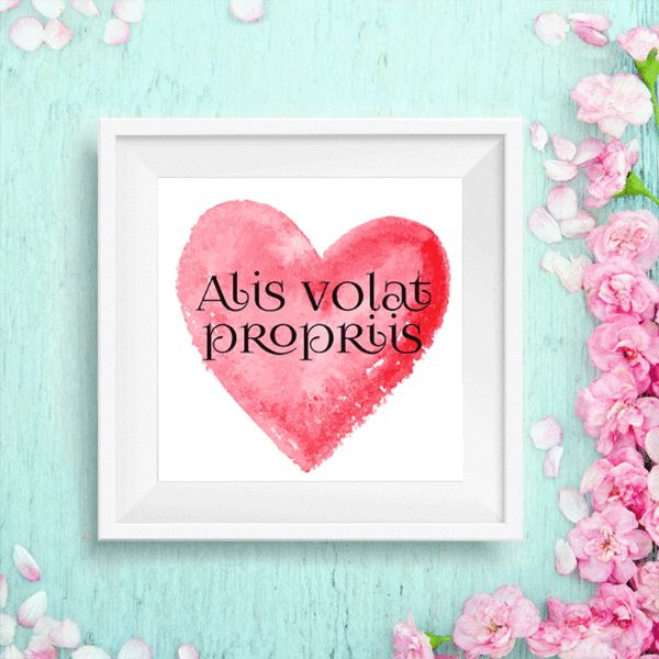 """""""Alis volat propriis""""- She flies with her own wings Quote Art Printable 8x10"""