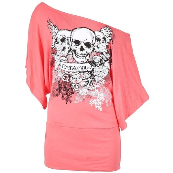 Oops Outlet Womens Off One Shoulder Skull Bardot Batwing Sleeve T... ($12) ❤ liked on Polyvore featuring tops, t-shirts, skull t shirt, one shoulder t shirt, batwing sleeve tops, skull tee and skull print t shirt