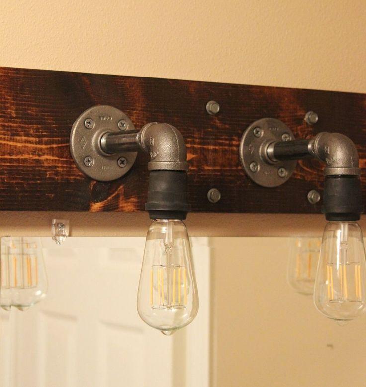 DIY Industrial Bathroom Light Fixtures | industrial pipe | Pinterest ...