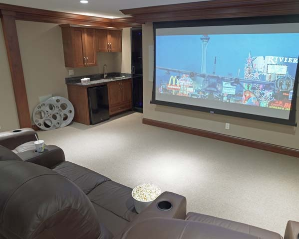 Delavan Lake Home Renovates Their Lower Level In To A Media Room With Touch Of