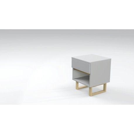 night cabinet. Drawer + shelf always organize your stuff. White + wooden elements.