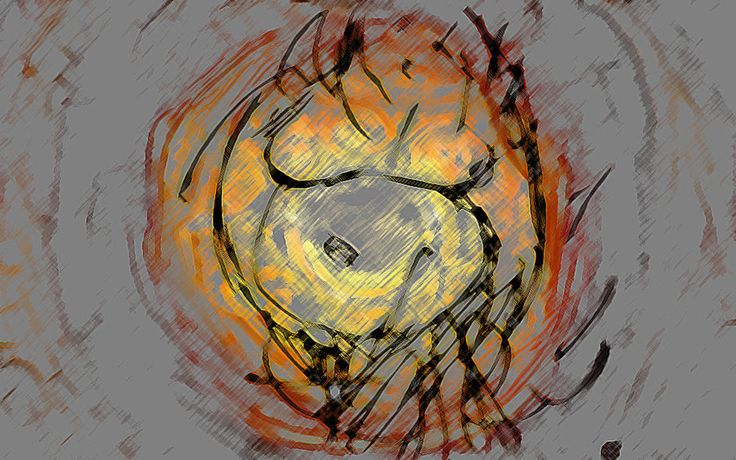 """Sol"" Drawn in sketchbook of my partner during her pregnancy then scanned and coloured in Photoshop.  The Sun (Sol) in norse mythology is female, and so here as the nurturing mother."