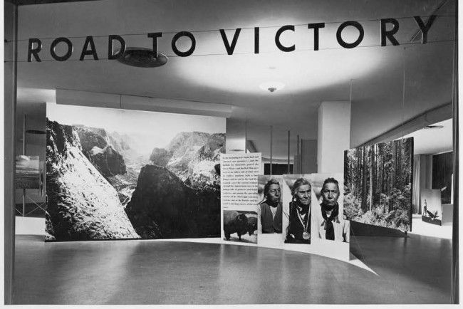 Albert Fenn, installation view of exhibition Road to Victory, Museum of Modern Art, New York, 1942