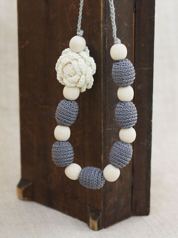 Nursing necklace with flower Neutral grey by 100crochetnecklaces