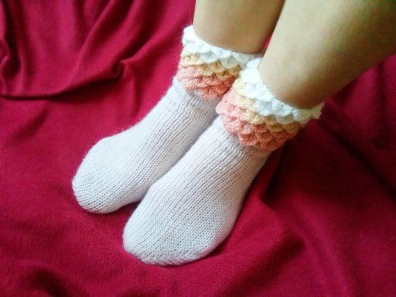 White And Shades of Peach Knitted Socks with Dragon by LoriYarns, $38.00