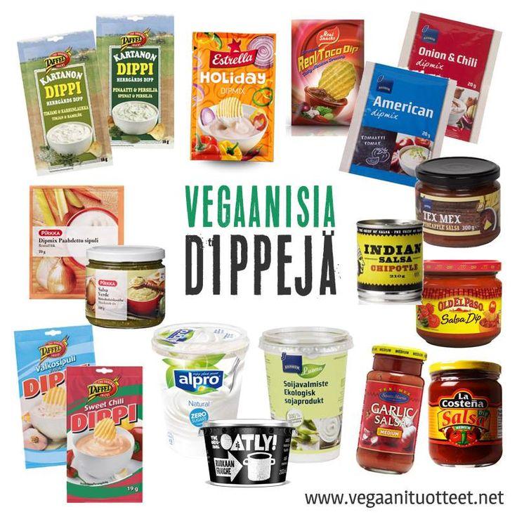 Sipsien kaveriksi dippejä! Kuvassa myös dippipohjia (soijajogurtit ja kaura-ranskankerma) ja salsoja. Salsadippejä ei Vegaanituotteet-sivulta löydy erikseen listattuna, koska ainakin tällä hetkellä kaikki myynnissä olevat salsat ovat vegaanisia.  http://www.vegaanituotteet.net/herkut/suolaiset-snacksit-dipit
