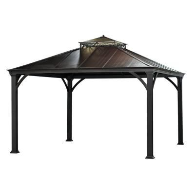 For the backyard with paving stones or flagstone.  Sunjoy Jackson 144 in. x 120 in. x 120 in. Aluminum Gazebo-L-GZ401PCO-2 at The Home Depot