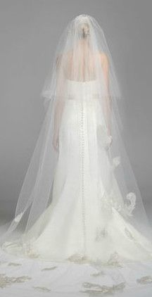 This beautiful two tier #OlegCassini cathedral length #veil features an elegant lace motif! Style VCKP588 #davidsbridal