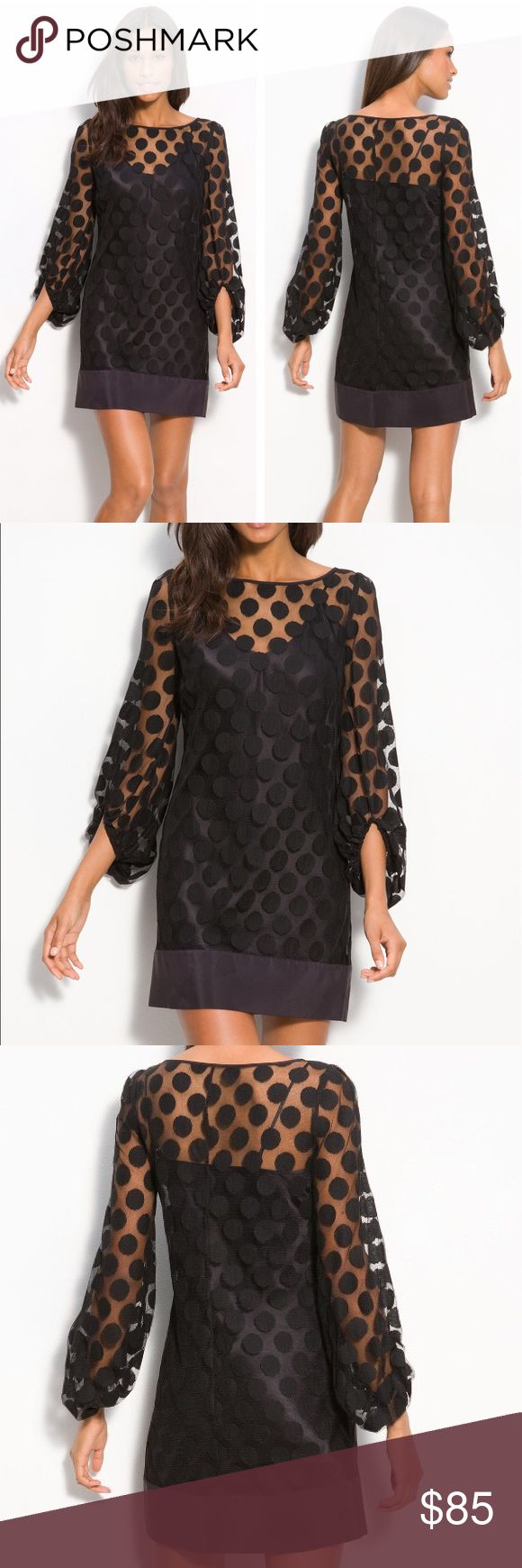 Laundry by Shelli Segal • Polka dot shift dress Laundry by Shelli Segal polka dot lace shift dress. Black. 3/4 sleeve. Size 2. Perfect like new condition. Retail $130. Sold out online! Laundry by Shelli Segal Dresses Mini