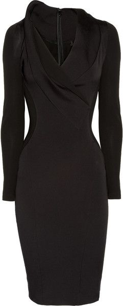 DONNA KARAN NEW YORK-Stretch Cottonblend and Stretchcrepe Dress