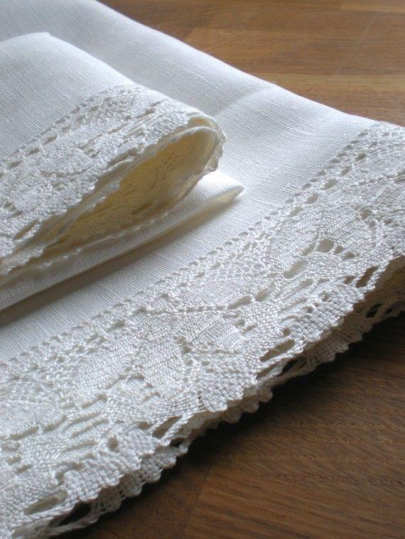 ٠•●●♥♥❤ஜ۩۞۩ஜஜ۩۞۩ஜ❤♥♥●   Pure linen with white linen lace tea towels  ٠•●●♥♥❤ஜ۩۞۩ஜஜ۩۞۩ஜ❤♥♥●
