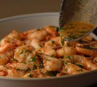 Sherried Shrimp - I altered the recipe just slightly - instead of taking the garlic out, I grated it and left it in. INCREDIBLE-will def make again.