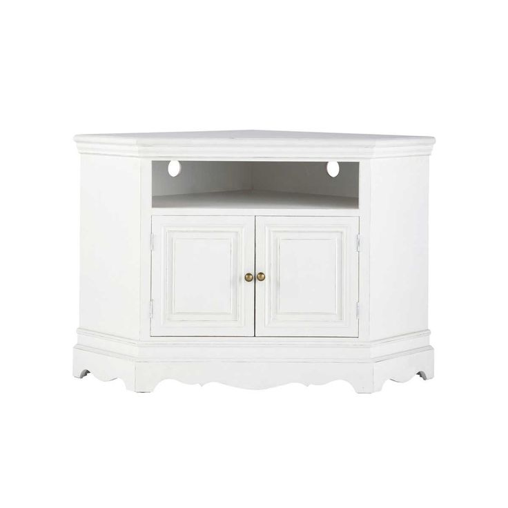 Paulownia wood corner TV unit in white W 105cm Joséphine