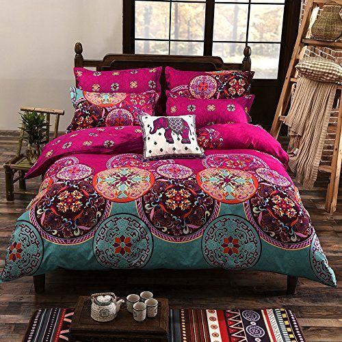 3-PC Pink Oriental Boho Duvet Comforter Cover Set Queen Bed Size Mandala Bedding #HomeFashion #Asian